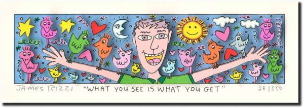 James Rizzi: 3D - WHAT YOU SEE IS WHAT YOU GET ( Rahmen 24 x 40 cm )