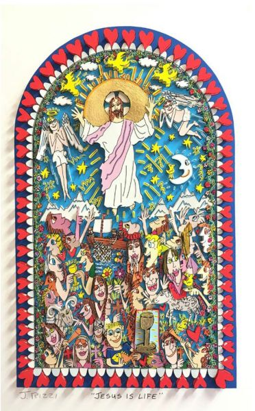 James Rizzi: 3D – JESUS IS LIFE ( Rahmen 50 x 40 cm )