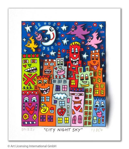 James Rizzi: City Night Sky ( 30 x 40 cm )