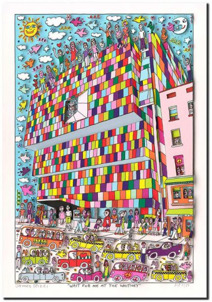 James Rizzi: 3D – WAIT FOR ME AT THE WITNEY ( Rahmen 60 x 50 cm )