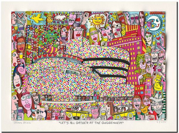 James Rizzi: 3D – LET´S ALL GATHER AT THE GUGGENHEIM ( Rahmen 60 x 50 cm )