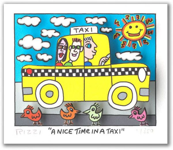 James Rizzi: 3D - A NICE TIME IN A TAXI (Rahmen 24 x 20 cm )