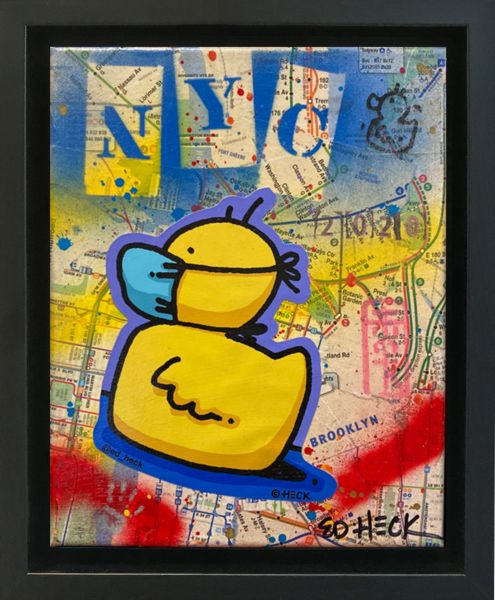 Ed Heck Unikat: Masked Duck in NYC ( 24,5 x 29,5 x 4cm )